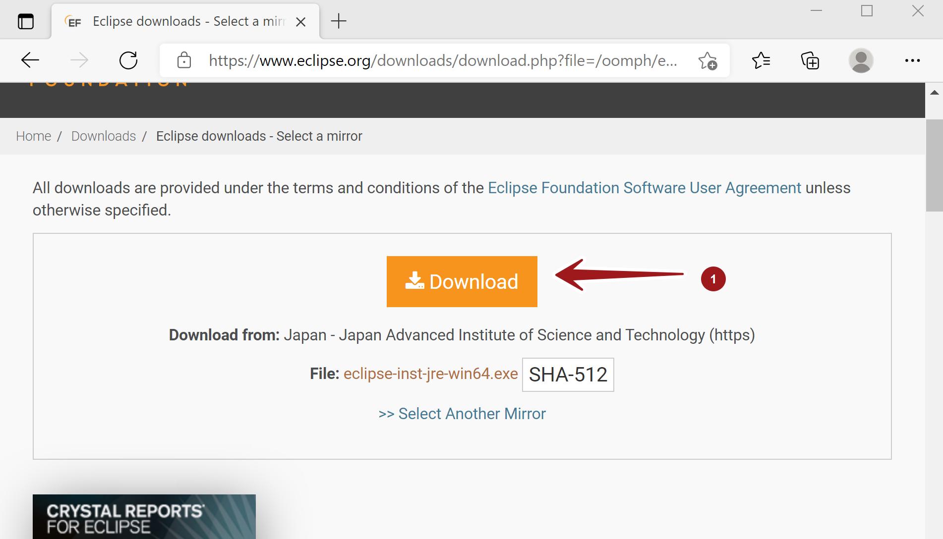 Eclipse Installer Download Button