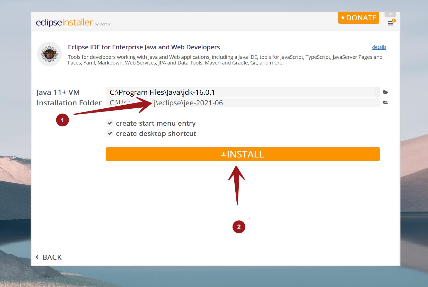Eclipse Installer Install Button