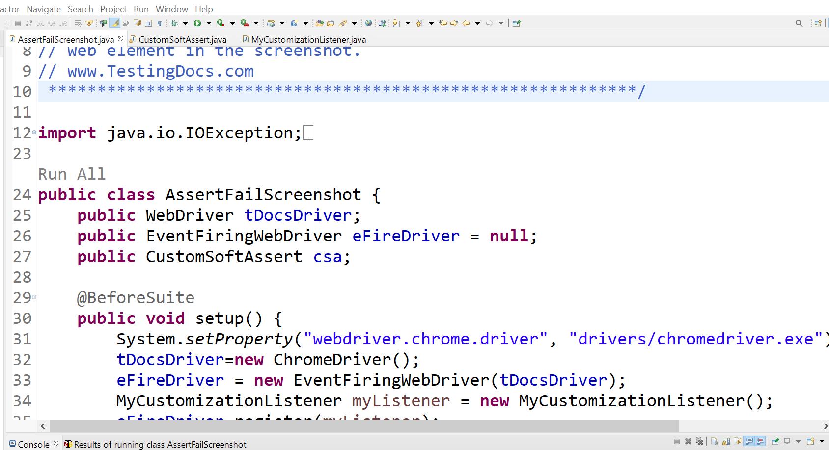 Failing Test TestNG Screenshot