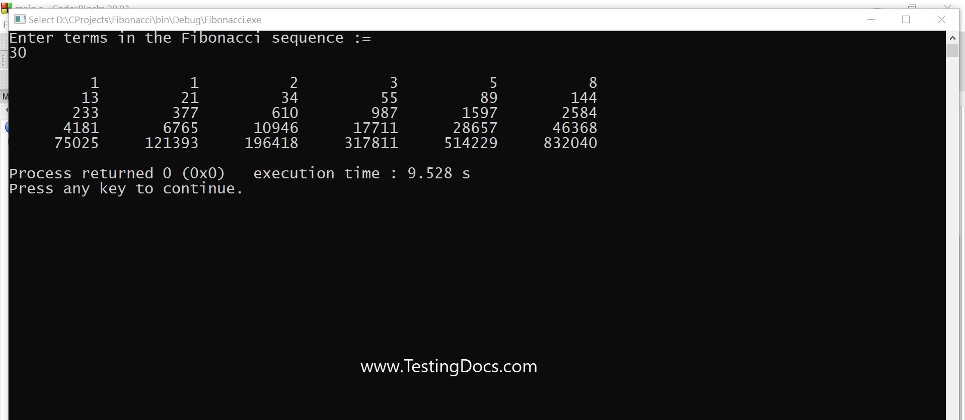 Fibonacci Sequence Output