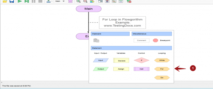 For Loop Statement Flowgorithm