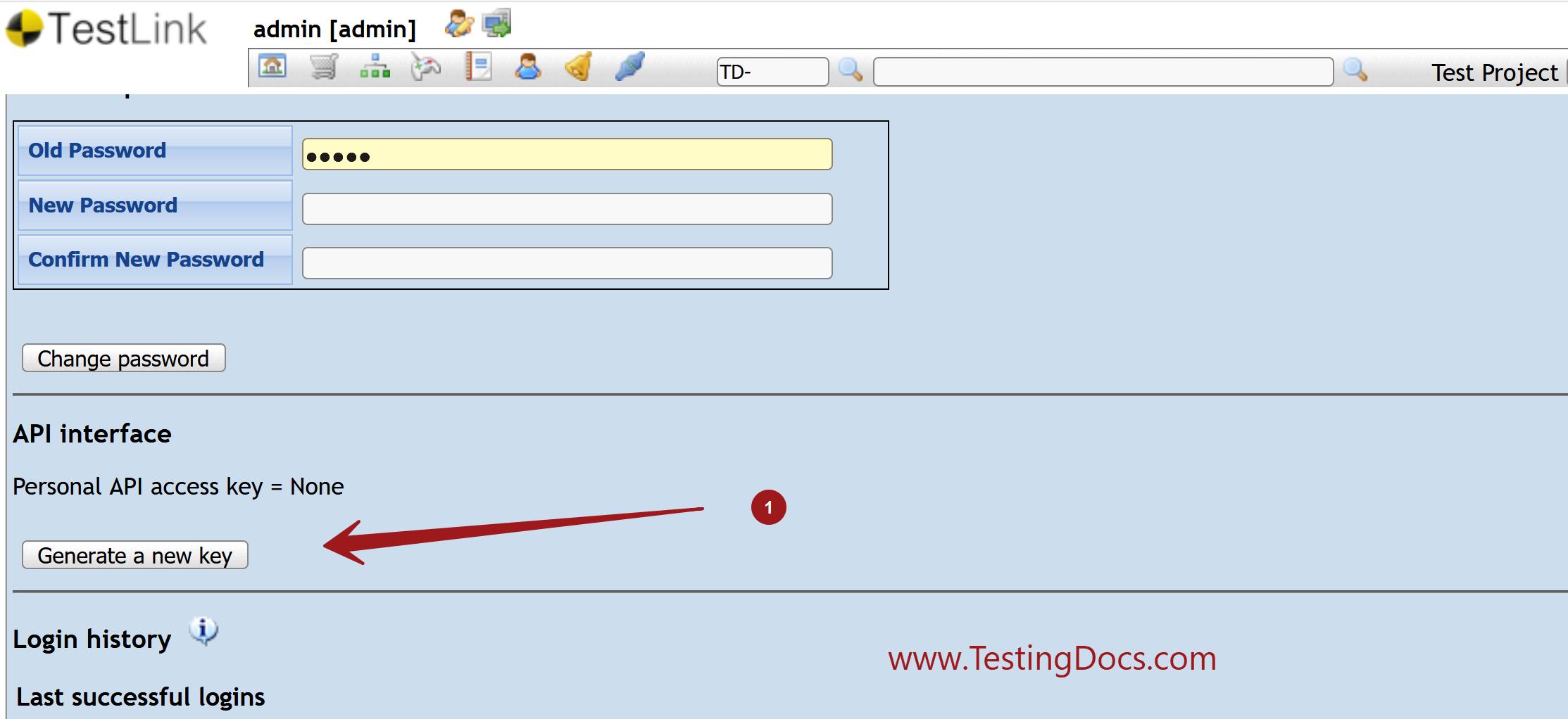 Generate a new key TestLink