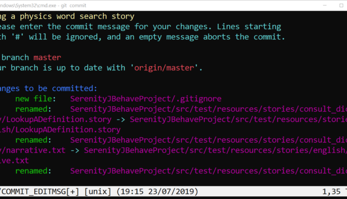 Git Commit JBehave Project