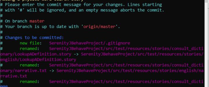 Git Commit JBehave Project