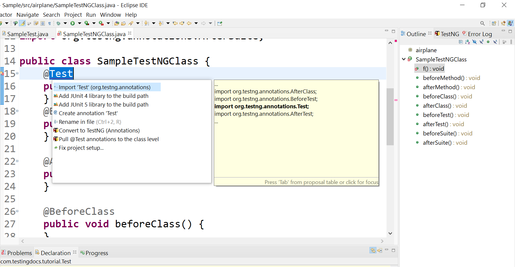 Import TestNG annotation