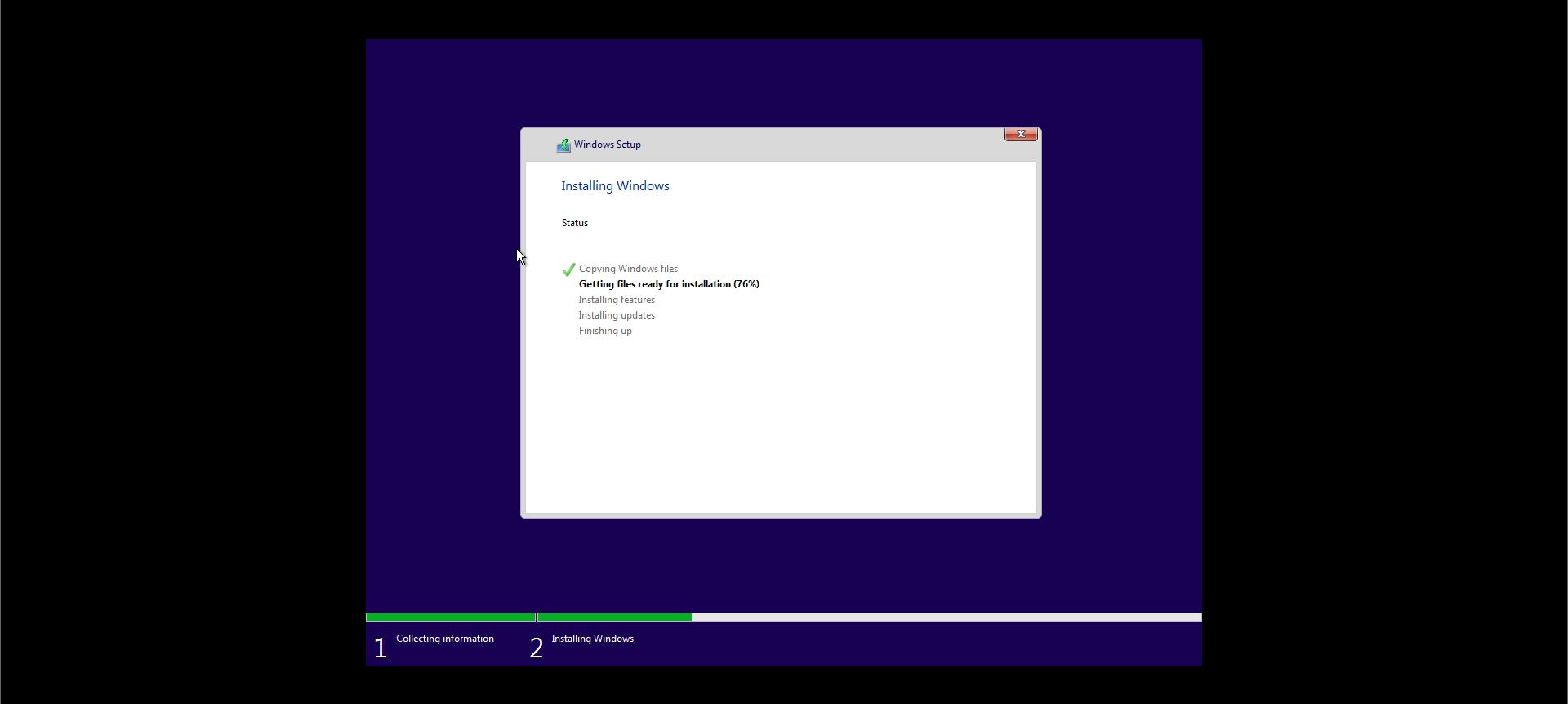 Installing Windows 10 Screen