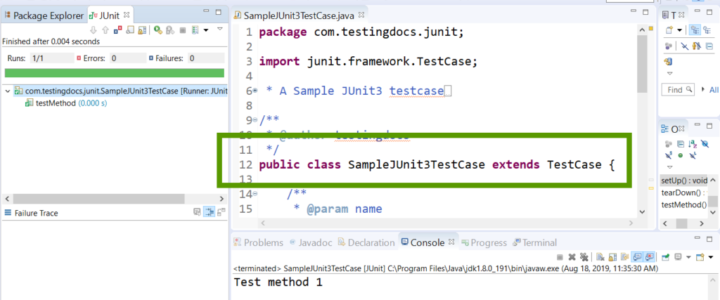 JUnit 3 TestCase