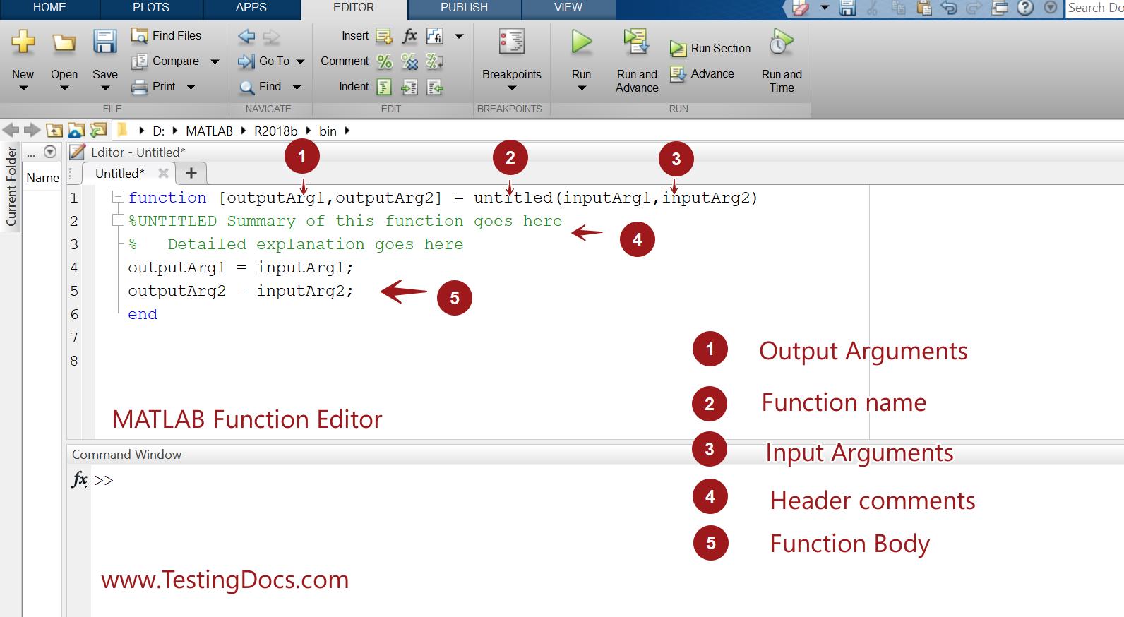 MATLAB Function Editor