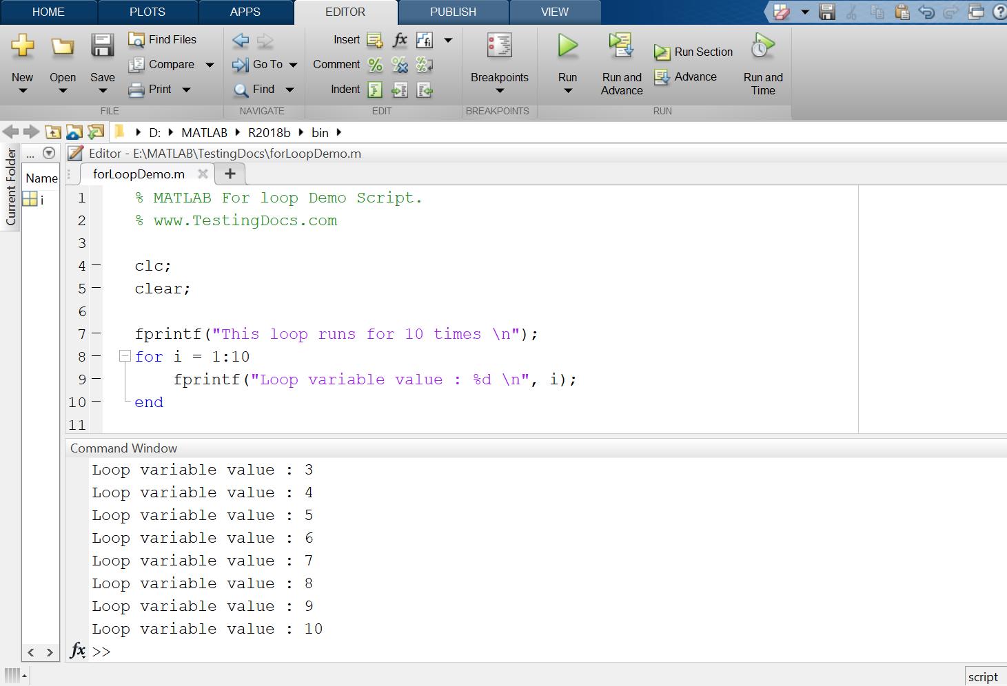 MATLAB For Loop Script