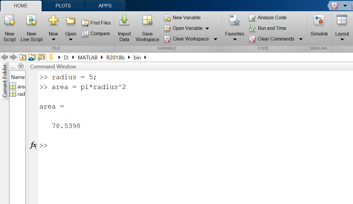 Matlab Variables Demo