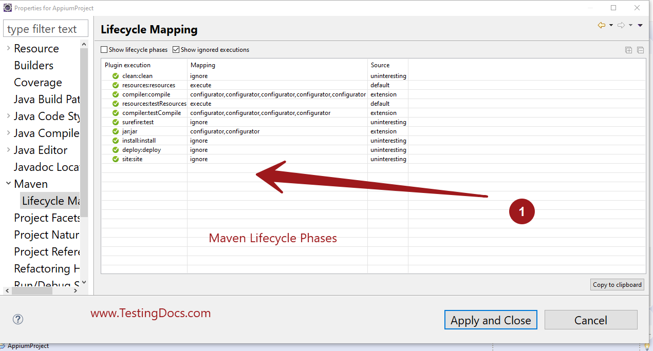 Maven LifeCycle Mapping Eclipse
