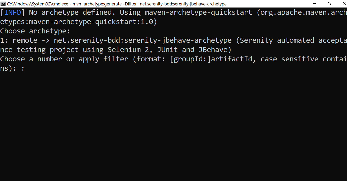 Create Serenity JBehave project from command line.