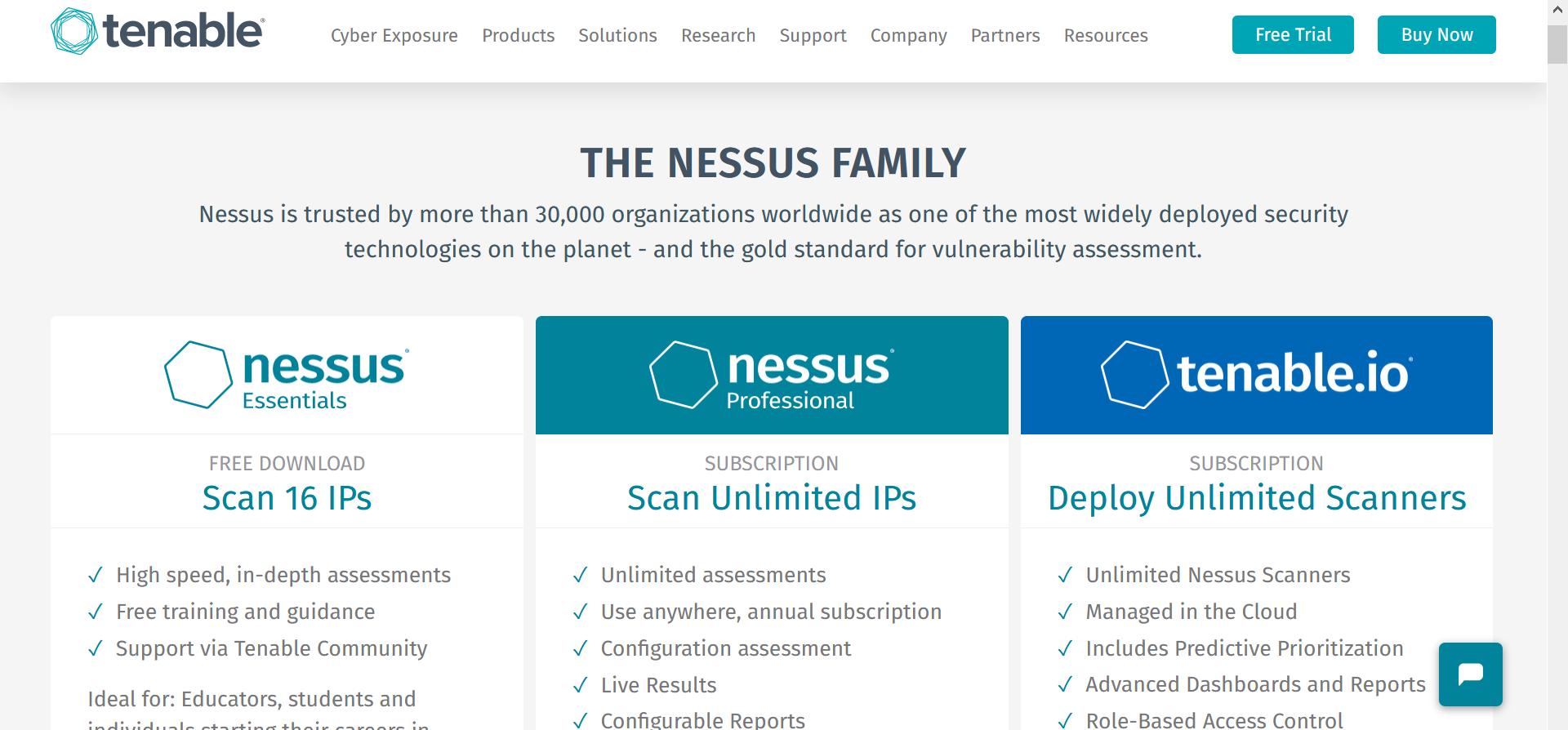 Nessus Security Tool Website