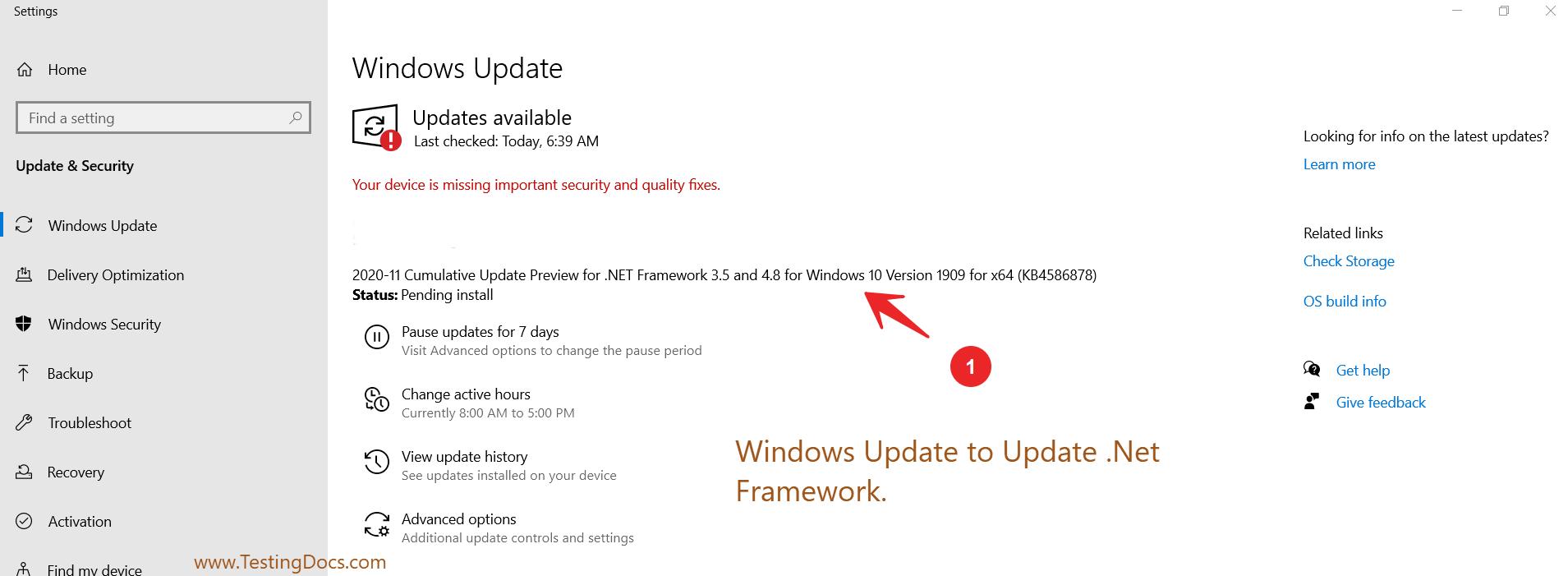 .Net Framework Windows Update
