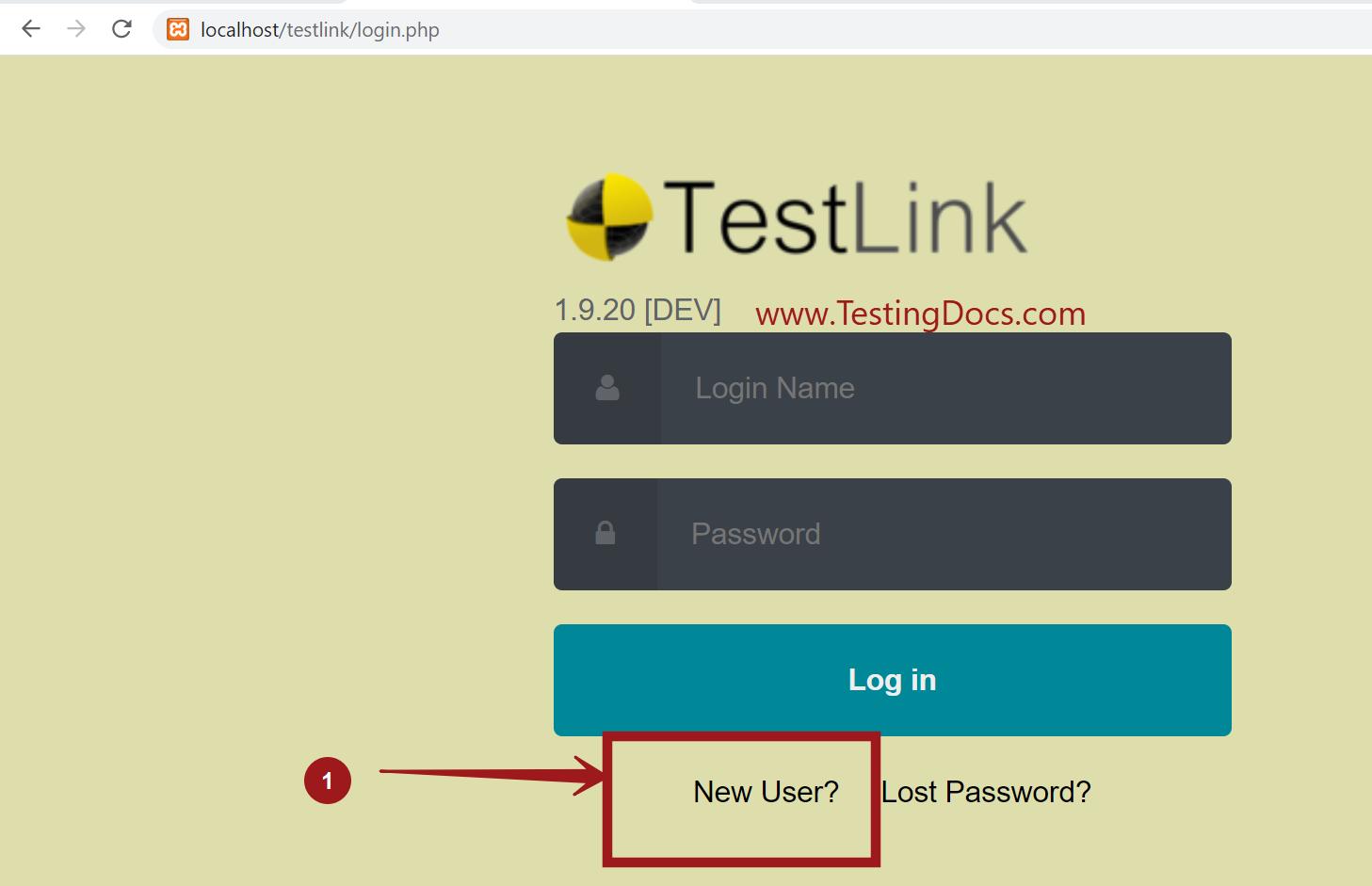 New User SignUp TestLink