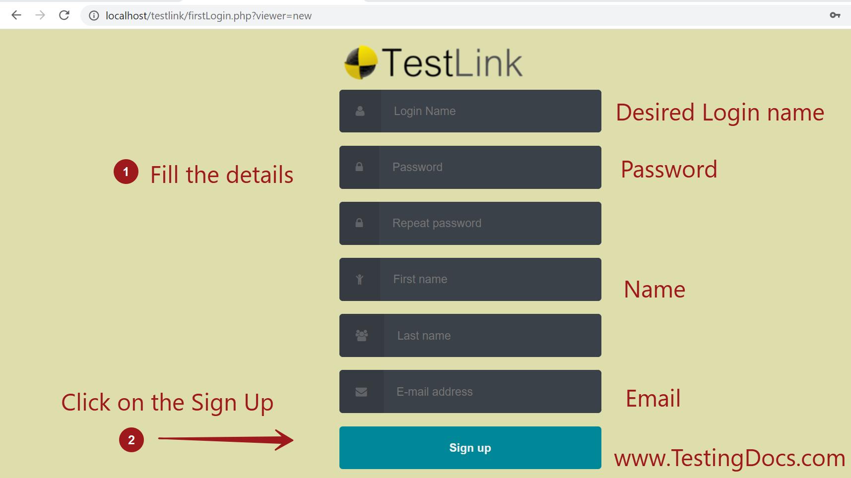 New User Signup TestLink Screen