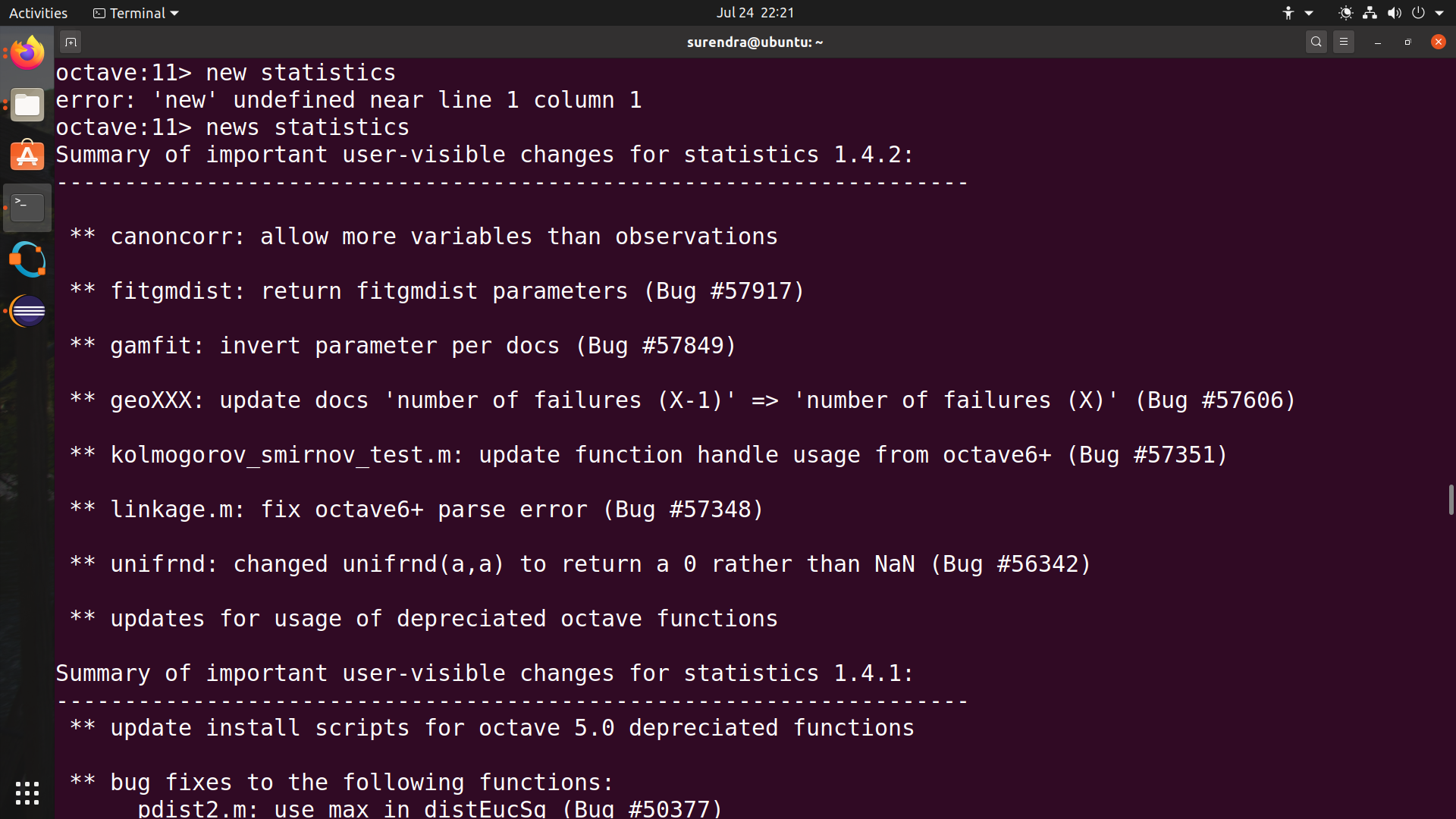 Octave Package News Command Line