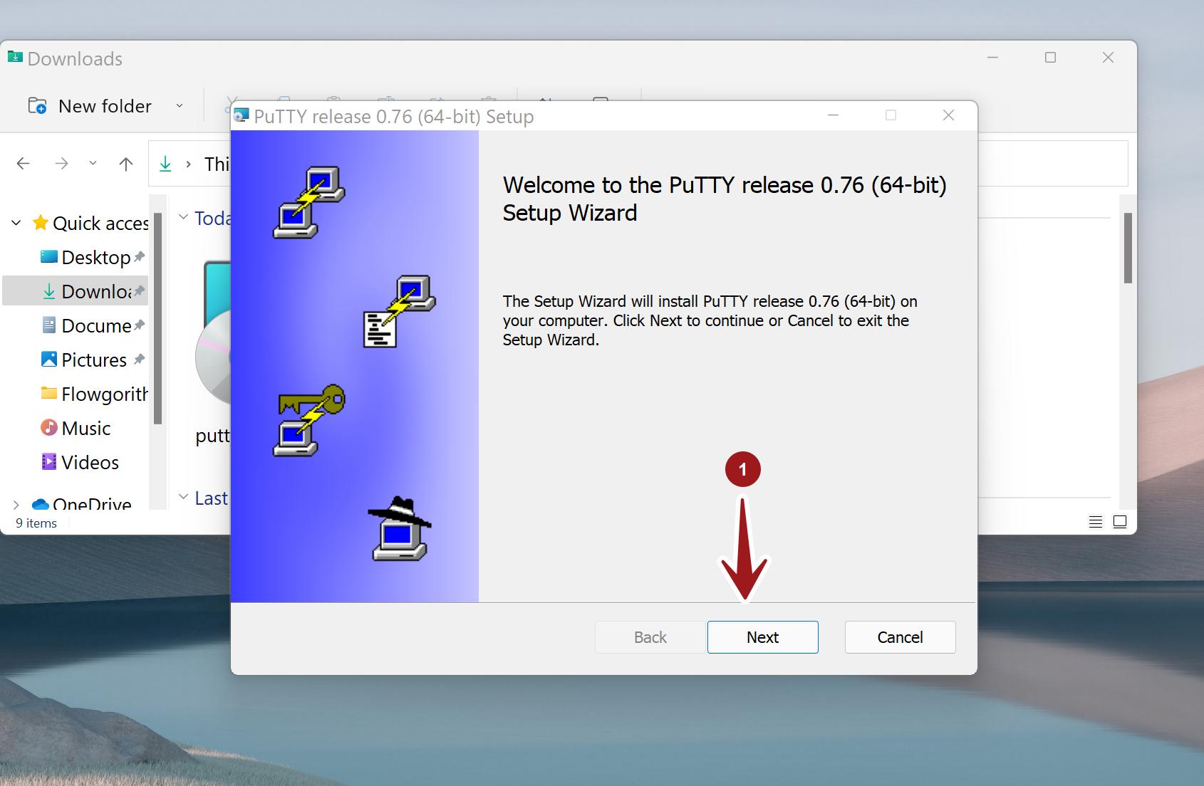 PuTTY Installer Screen