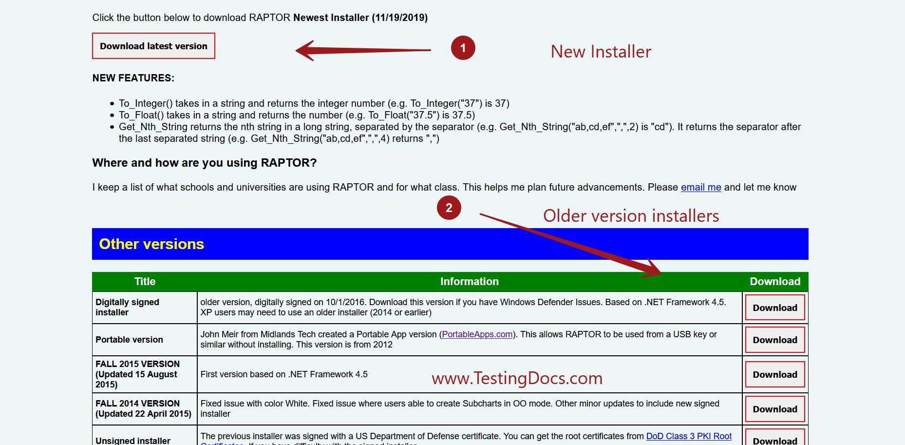 Raptor Installer New Interface