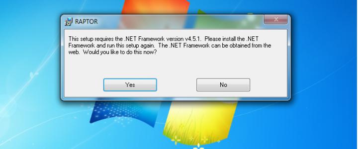 .Net framework Install for Raptor