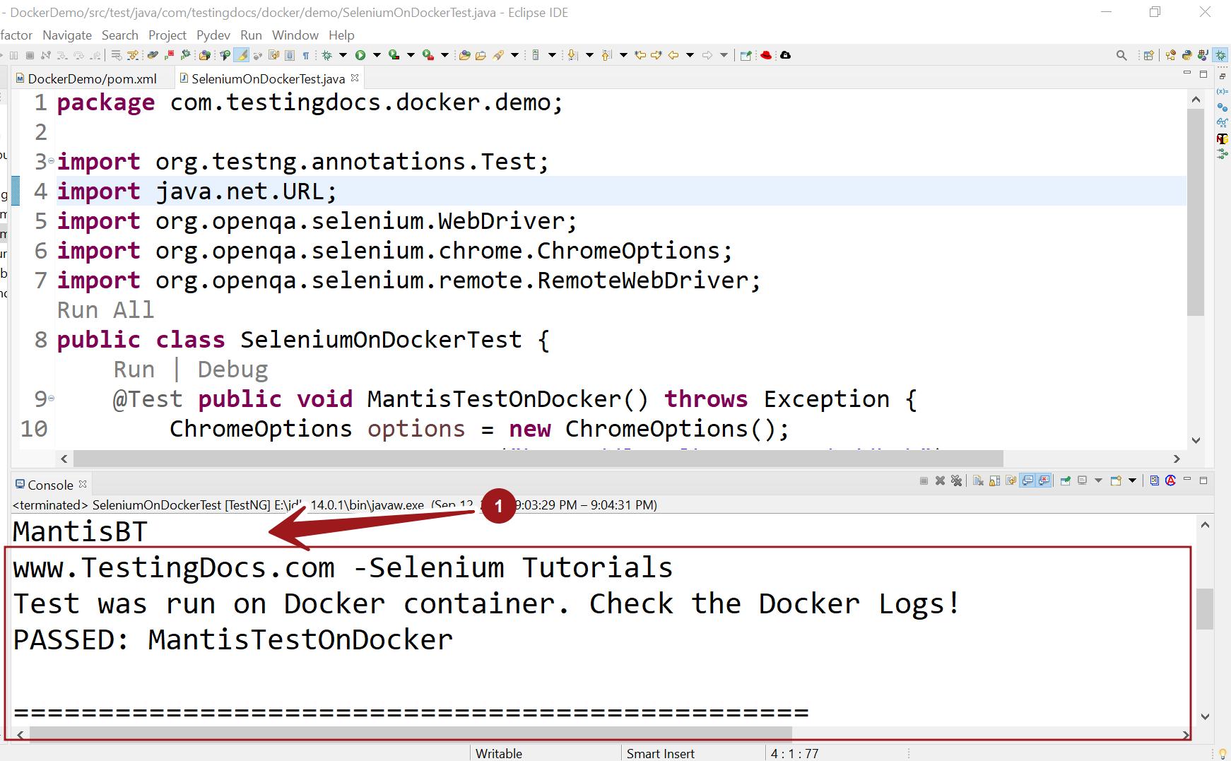 Selenium Test on Docker Container