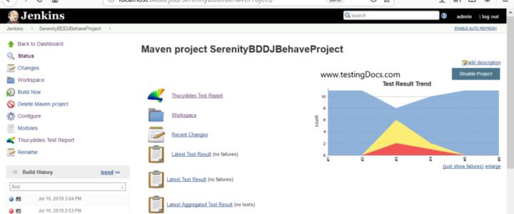 Serenity BDD JBehave Result Jenkins