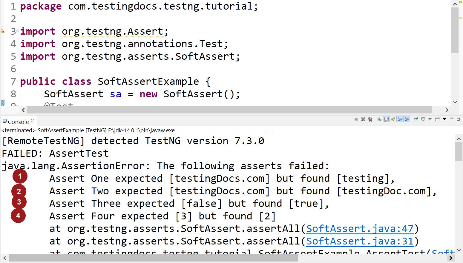 SoftAssert TestNG