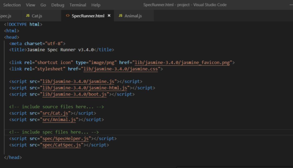 SpecRunner HTML Code in Editor