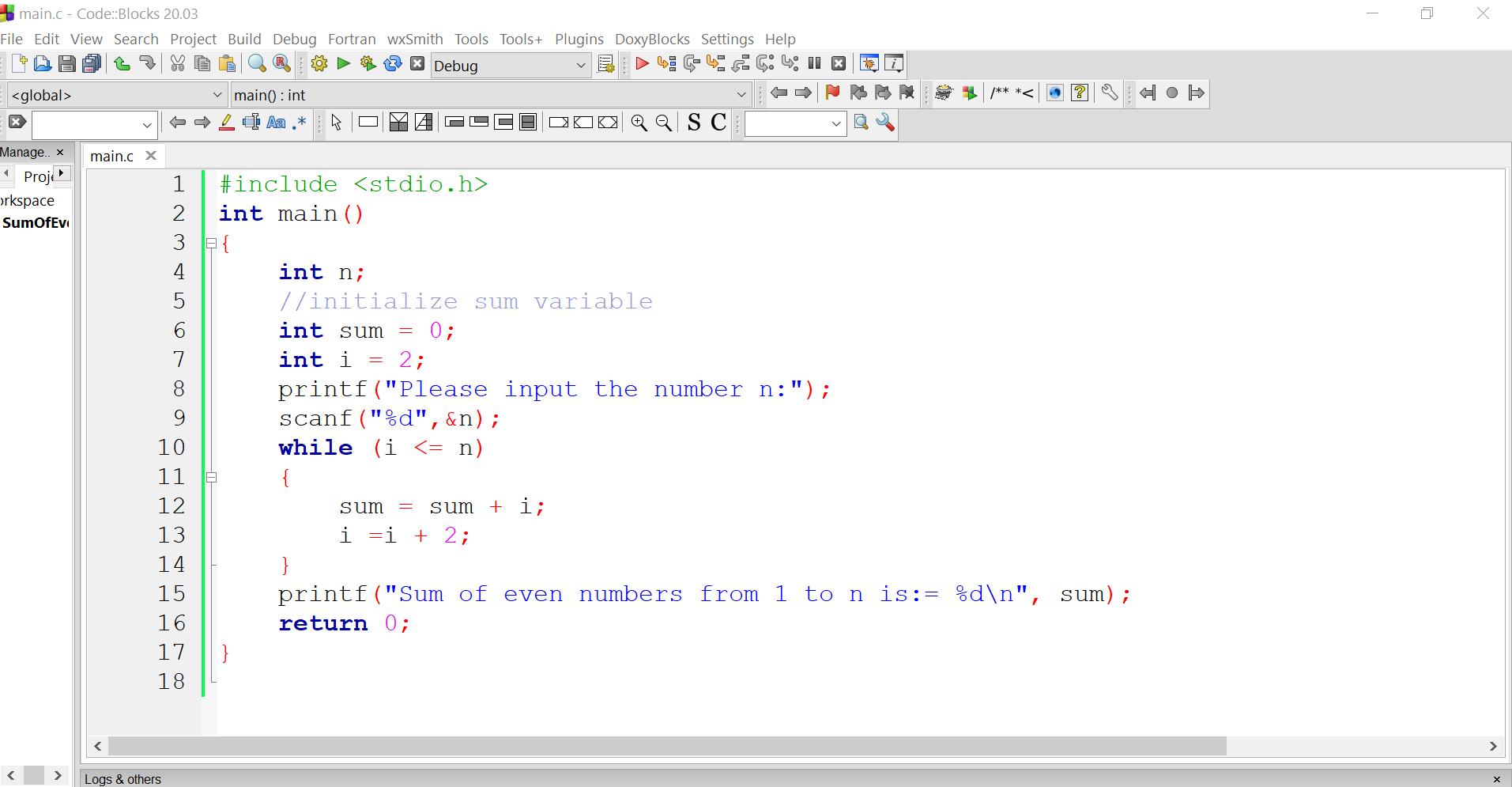 Sum of Even Numbers C Program