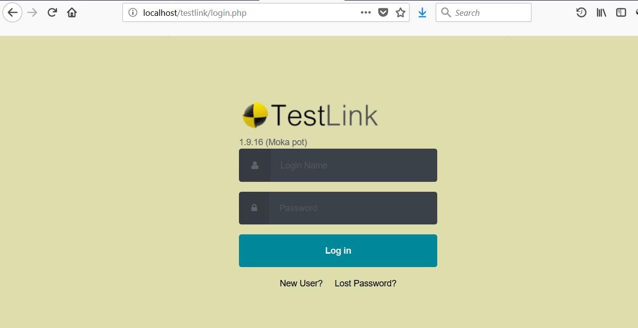 TestLink Login Page