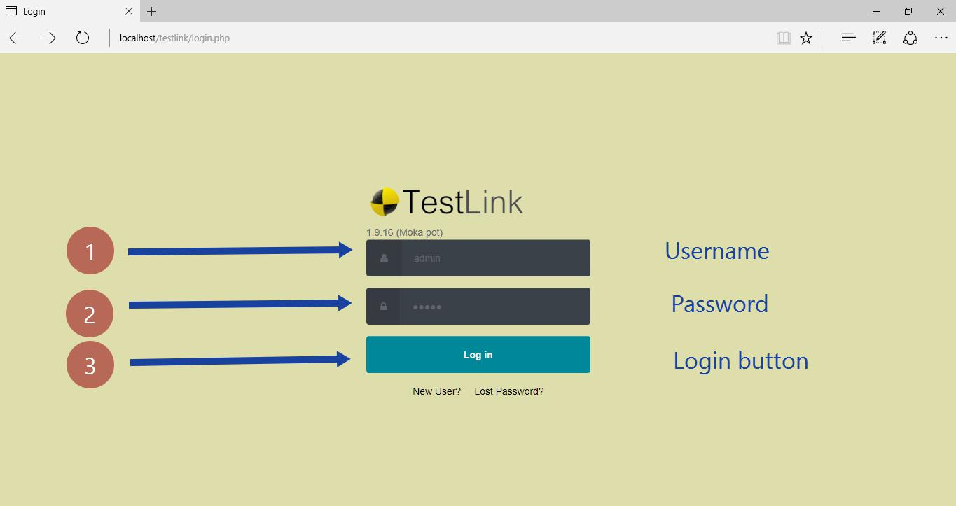TestLink Login Screen
