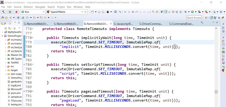 Timeouts Interface Selenium