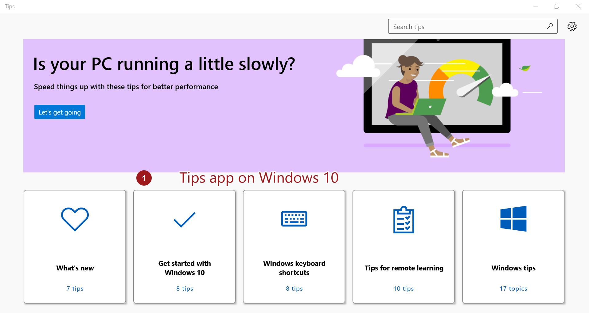 Tips App on Windows 10
