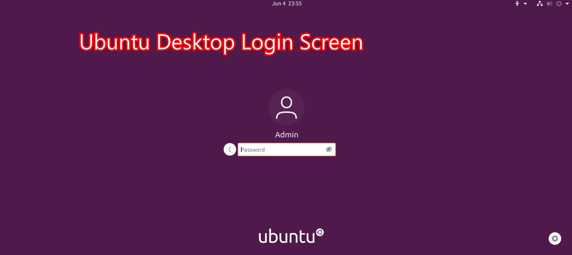 Ubuntu Login Screen
