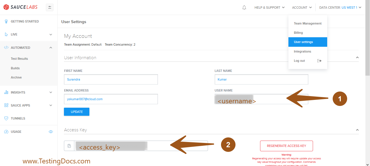 Username and Accesskey SauceLabs