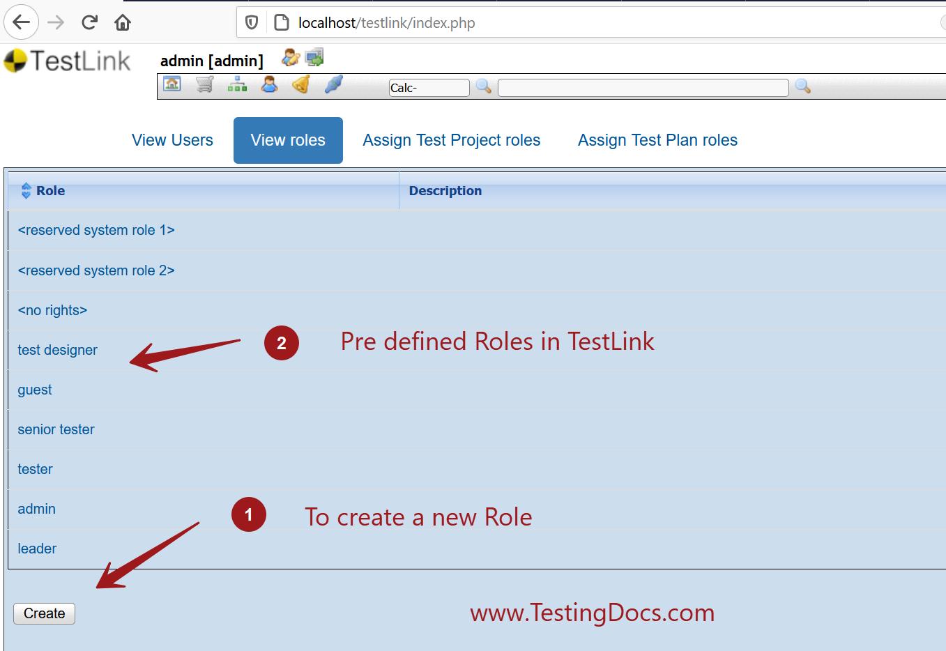 View Roles Screen TestLink