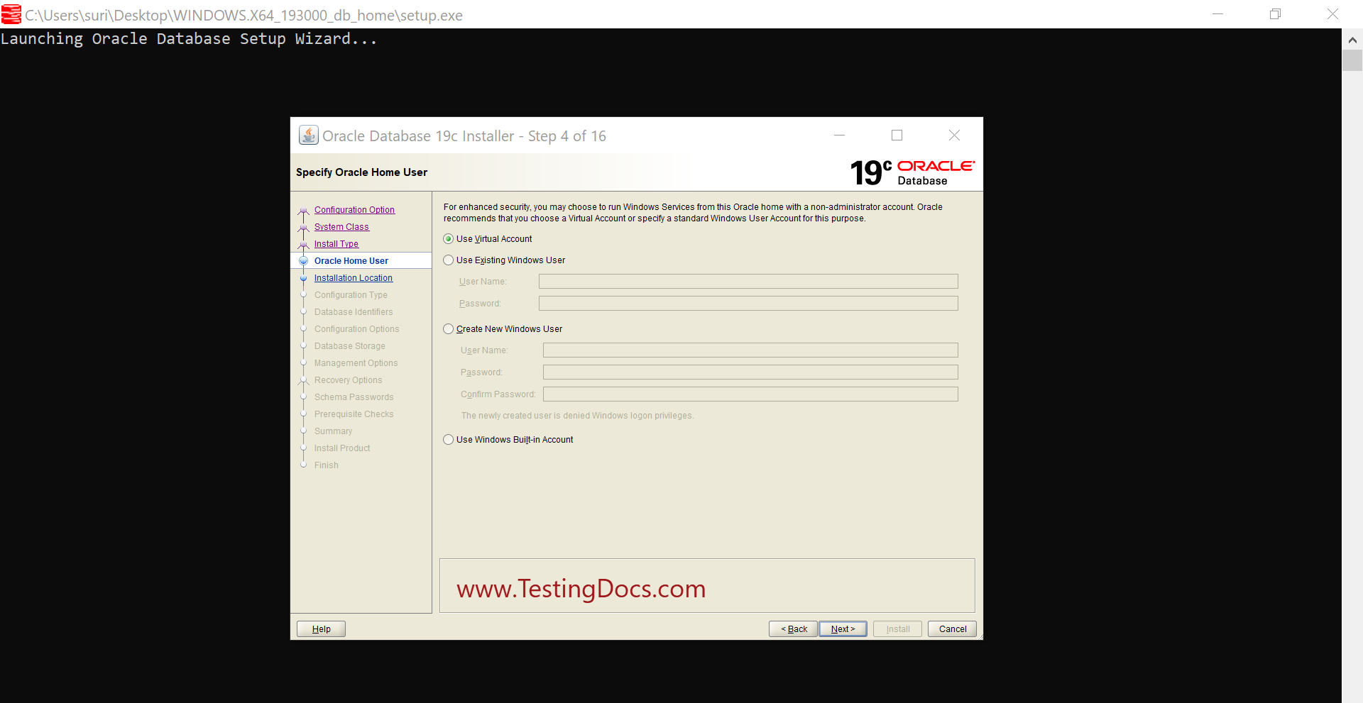 Install Oracle 19c