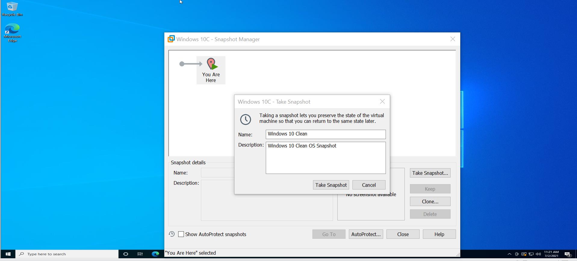 Windows 10 Clean OS Snapshot