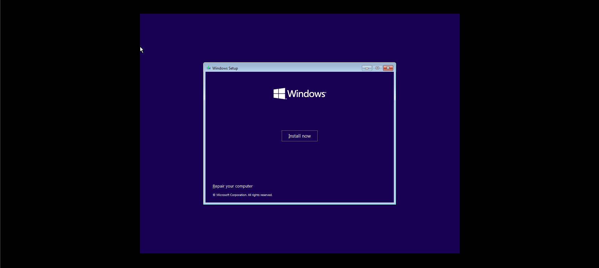 Windows 10 Install Now Button