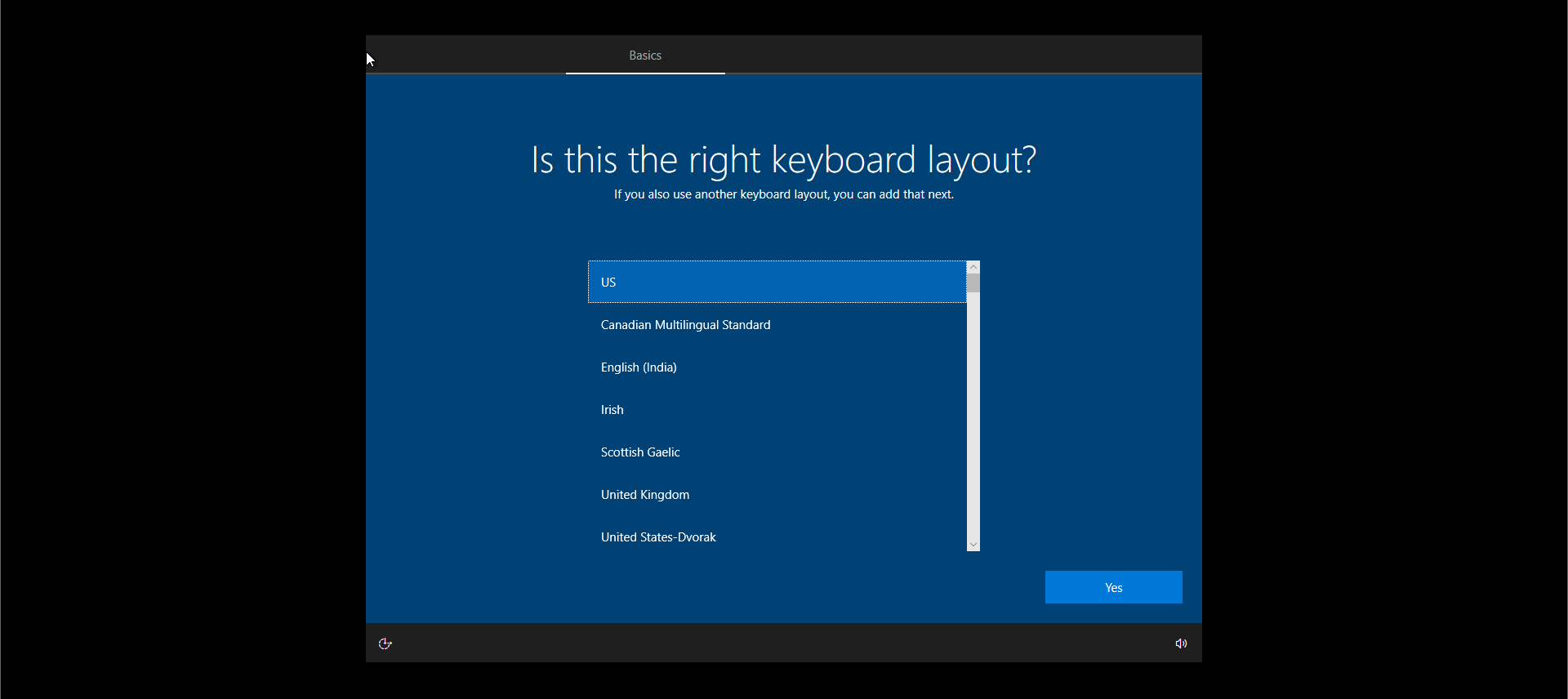 Windows 10 Install Option Keyboard