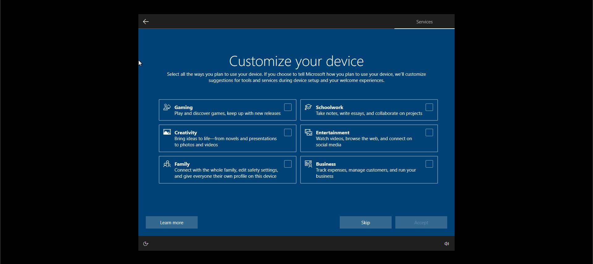 Windows 10 Install Options Device Customization