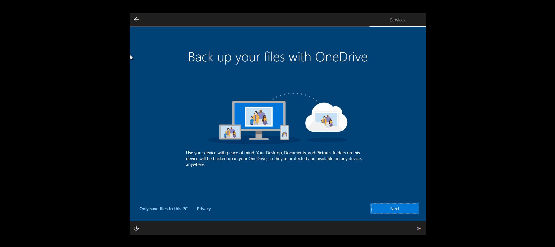 Windows 10 Install Options OneDrive Setup