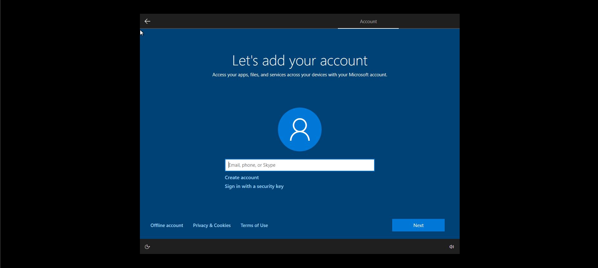 Windows10 Add Account