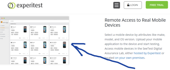 experitest remote access to real mobile devices