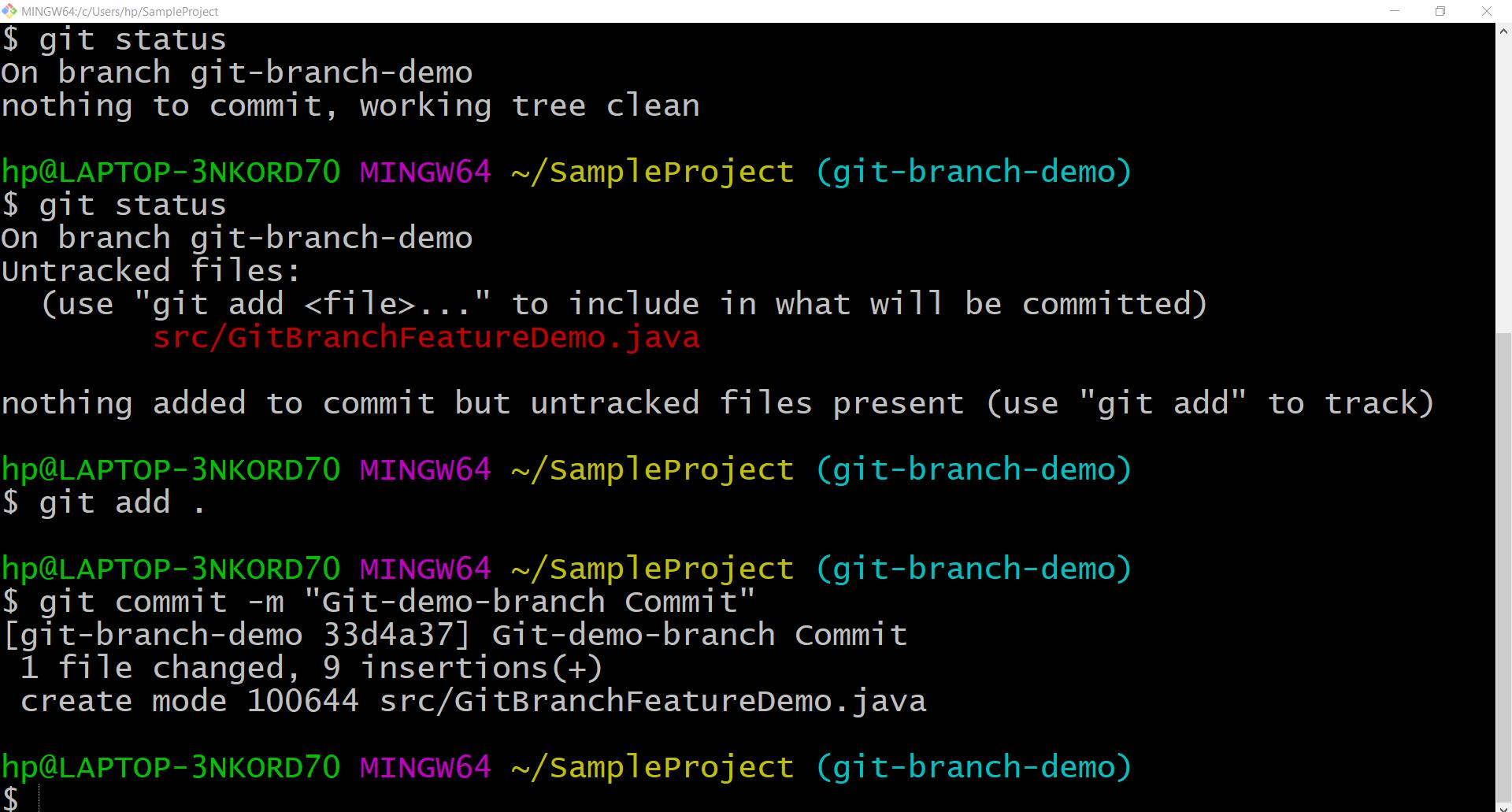 git branch demo commit