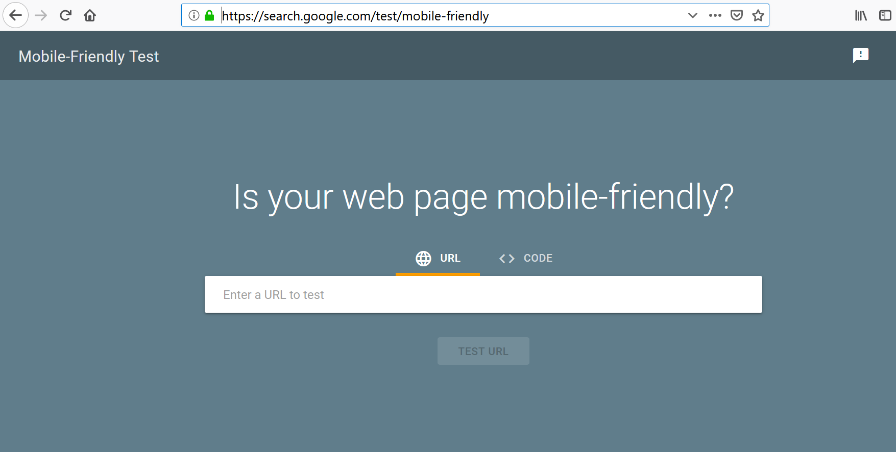 Testing webpage mobile-friendliness using a tool