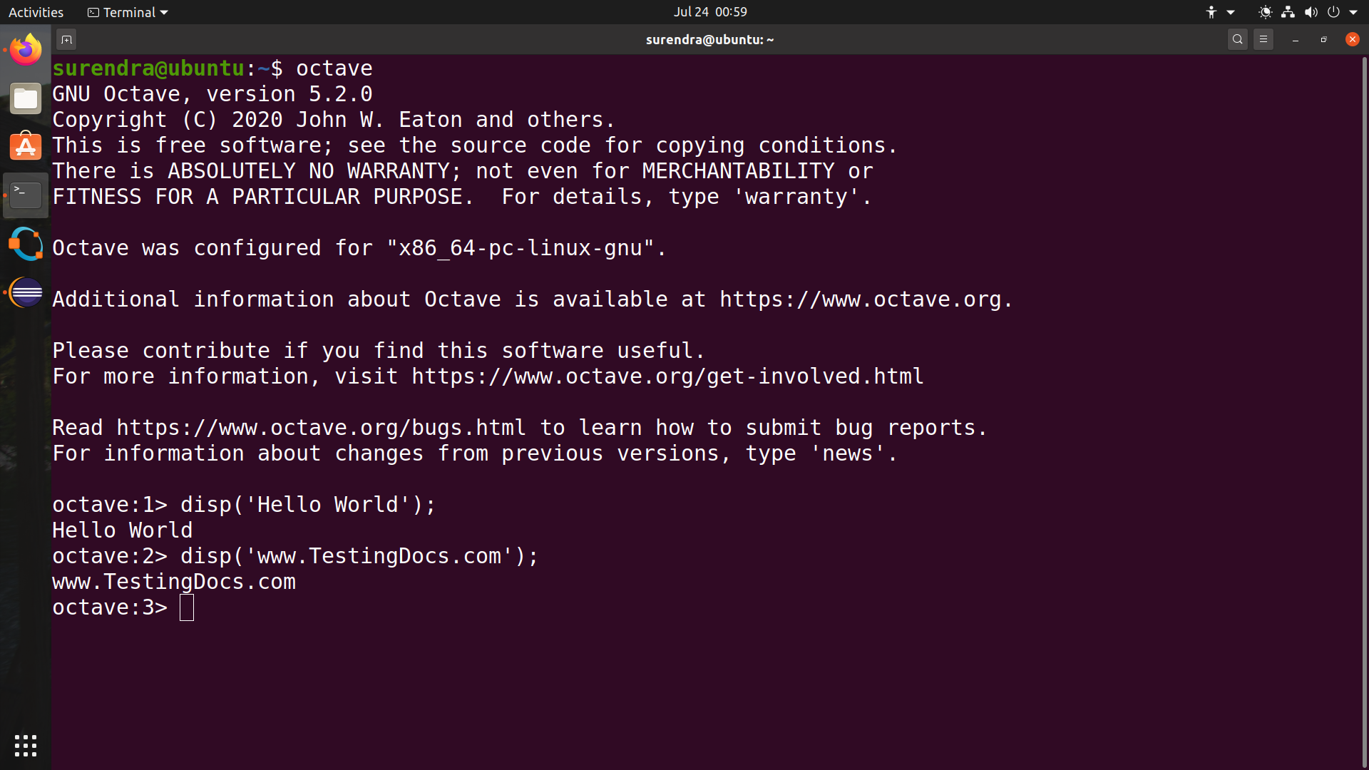 octave command line linux