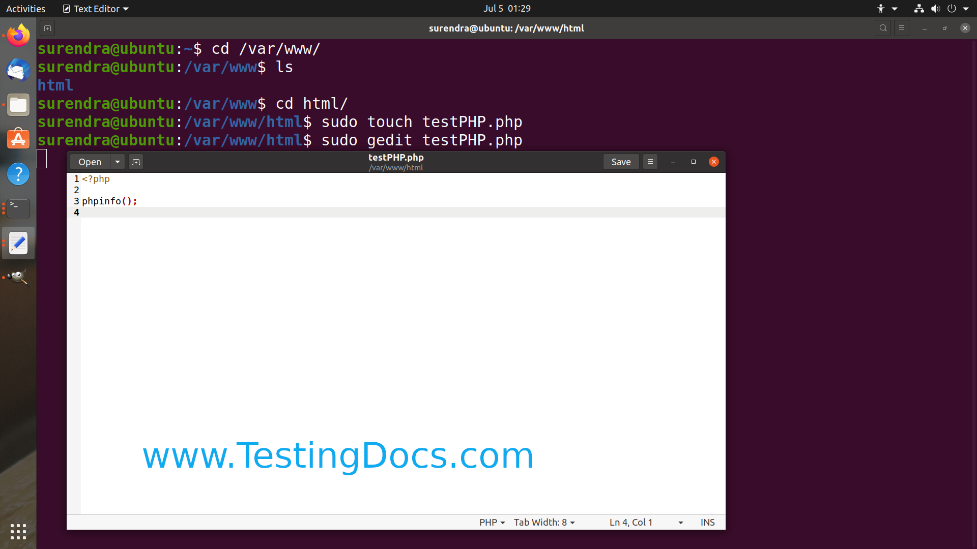 testing php linux