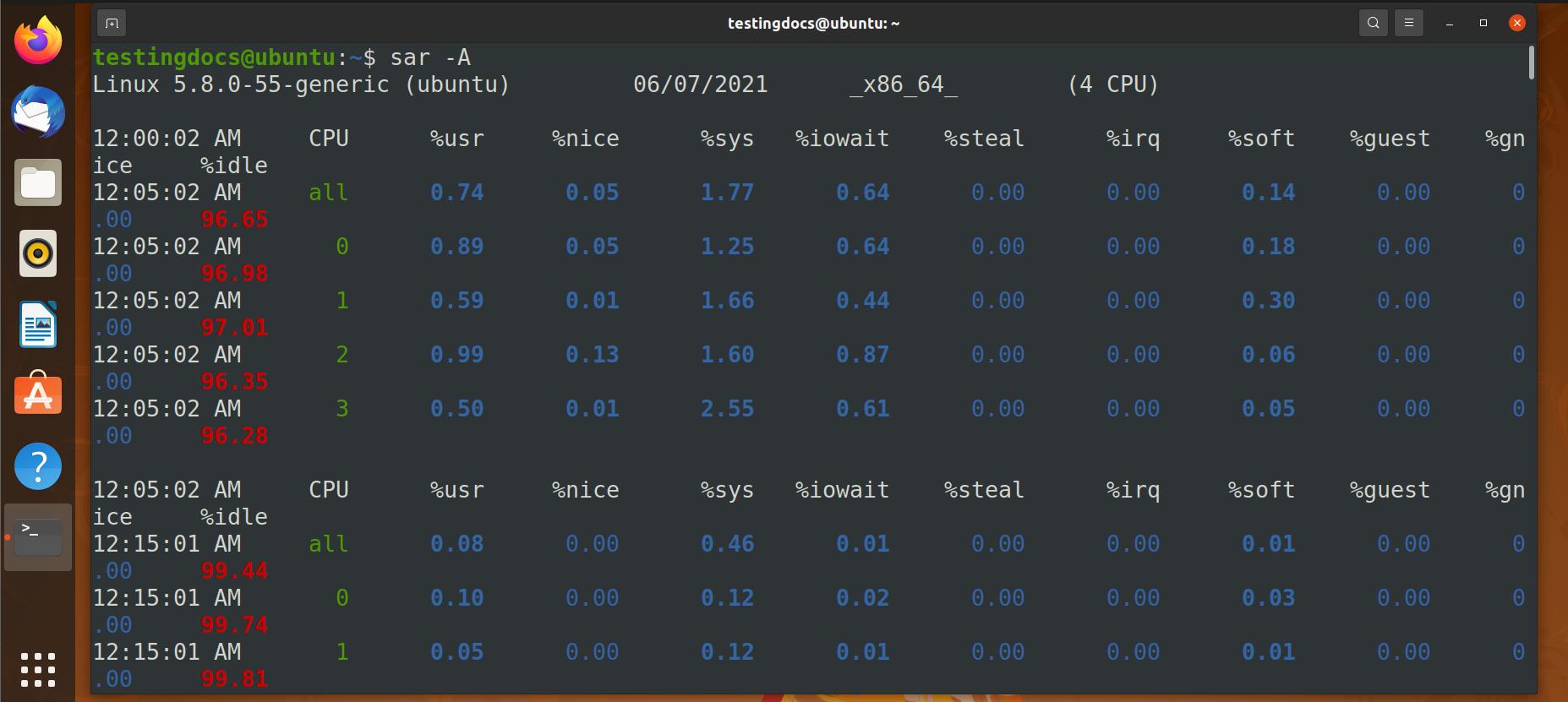 sar command output