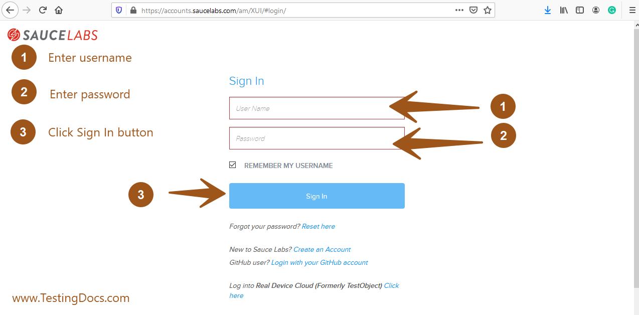 saucelabs login screen